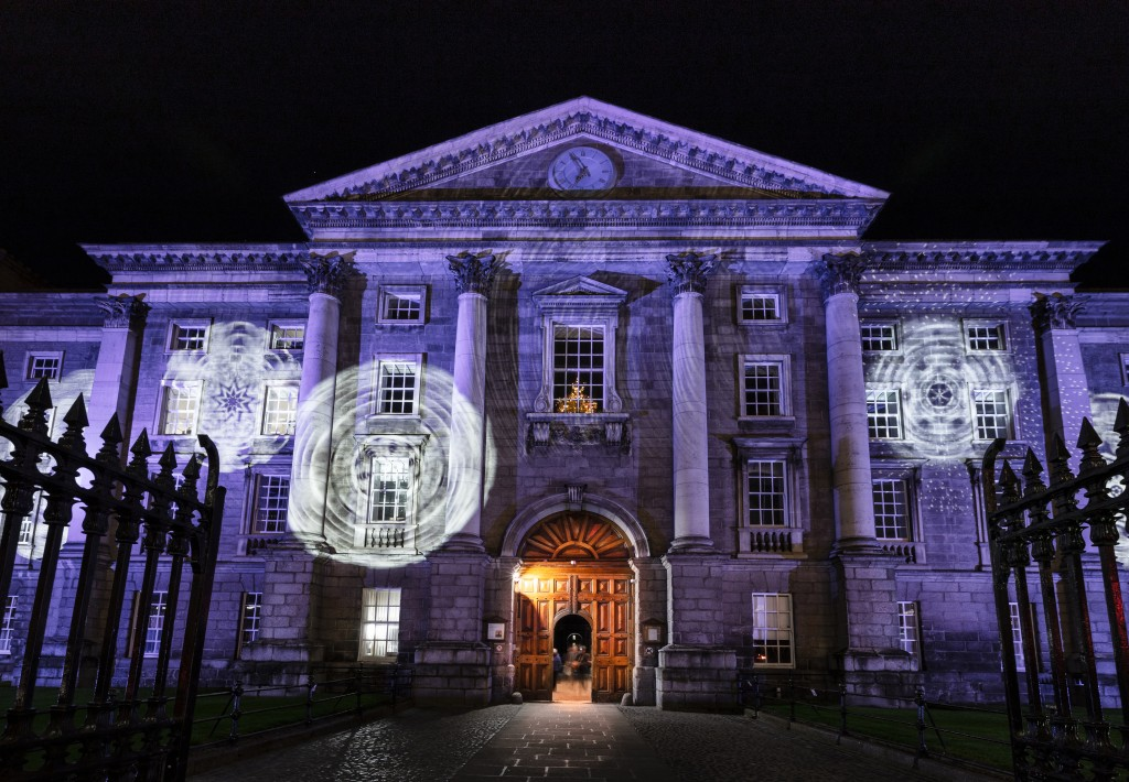 Main Gate Trinity College with Christmas projections